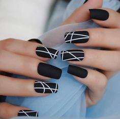 Black White Nails, Black Acrylic Nails, Yellow Nails, Best Acrylic Nails, Matte Nails, Matte Black, Stiletto Nails, Black Art, Cute Black Nails