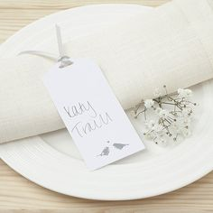 White and Silver Eco Chic Birds Design Place Card Tag - 10 Pack - Confetti.co.uk