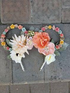 Floral Mickey ears, Mickey ears, floral light up ears, Disney ears, floral Disney ears, Disney world ears, flowers ears, pink ears by FairyFrosting on Etsy #diy #mickeyears #disney #minnieears #disneyears #craft #disneycraft