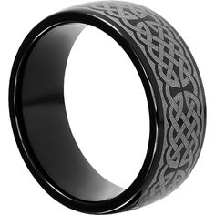 9mm Crux Celtic Wedding Bands for Men in Black Tungsten Carbide. The Crux Features a Cross Knotwork Pattern Circling the band | FM Brand Wedding Bands.