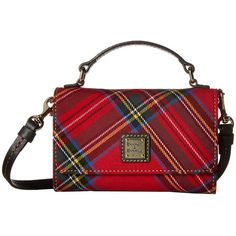 Dooney & Bourke Small Mimi Crossbody Tartan (Red/Black Trim) Cross... ($168) ❤ liked on Polyvore featuring bags, handbags, shoulder bags, leather man bags, red leather handbags, crossbody purses, dooney bourke handbags and leather purses