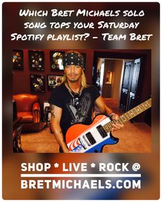 Which Bret Michaels solo song tops your #SaturdaySpotify playlist? Get Bret's complete solo music catalog at digital music retailers, streaming services and ShopBretMichaels.com! - Team Bret #Spotify #DigitalMusic ☠️
