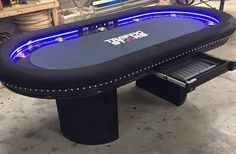 Custom poker table with adjustable strip lights & controller