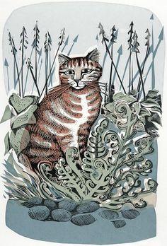 Ginger Cat & Fern - Linocut & Silkscreen by Angela Harding