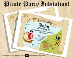 Birthday party invitations  Treasure Map Pirate Birthday by todi, $12.00