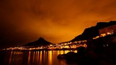 Beta Beach - at night St Monica, Beach At Night, Table Mountain, Investment Property, My Happy Place, Cape Town, South Africa, Sunset, City