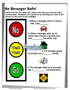 """This graphic organizer presents an """"easy to remember"""" model for children to follow when encountering strangers.  The activity uses a stoplight design to illustrate the """"no-go-yell-tell"""" stranger safety rules. Students read and complete sentences by referring to the picture below each sentence and then matching the color of the picture to the circle on the stoplight."""