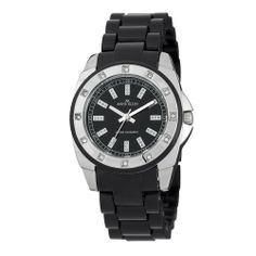 Anne Klein Women's 109379BKBK Swarovski Crystal Silver-Tone Black Plastic Watch Anne Klein. $51.47. Silver-tone glitter markers. Silver-tone hour hands and sweep second hand. Black dial with white printed outside minute track. Swarovski crystal accented bezel. Black plastic bracelet