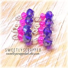 Fuchsia And Navy Blue Beaded Charms ... TINY by SweetlyScrappedArt