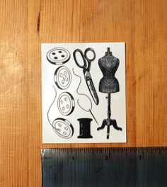 Sewing set - 4 Buttons, scissors,  needle and thread, dressmaking dummy - Temporary Tattoo