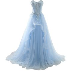 Setwell Women's Sweetheart Prom Dress A Line Appliques Beaded Evening... ($136) ❤ liked on Polyvore featuring dresses, gowns, beaded prom gown, blue evening gown, blue gown, prom gowns and blue ball gown