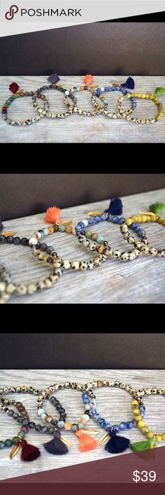 Dalmatian Jasper Tassel Bracelets ❤️ Dalmation Jasper stretch bracelets with natural stone beads. Accented with gold plated nugget beads and crystals. Function & Fringe Jewelry Bracelets