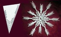 making paper snowflake for christmas decoration