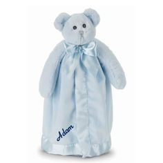 PersonalizeMyBabyBlanket.com - Bearington Blue Bear Hugs Baby Security Blankie Blankets- Personalized Embroidery, $25.00 (http://personalizemybabyblanket.com/bearington-blue-bear-hugs-baby-security-blankie-blankets-personalized-embroidery/)