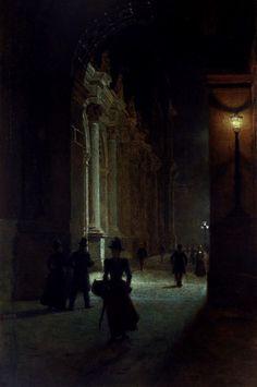 """""""Louvre at Night"""" (1892) by Aleksander Gierymski (Polish,1850-1901), oil on canvas, 119.5 x 75 cm, National Museum, Poznan"""