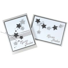 Kahden erikokoisen tähtiaiheisen kuviolävistimen avulla valmistettuja joulukortteja.