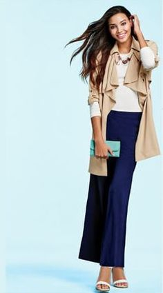 mark.girl #OOTD - Free & Clear Necklace,  Soft Touch Trench, Navy Gazing Pants, In The Money Wearable Wallet, and White Idea Wedges. #springfashion #springstyle #lotd