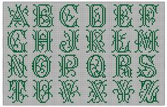 Moderne Stickerei-Vorlagen, Secession, Jugend-Styl, page 16. c. 1915. Art Nouveau cross-stitch, uppercase, ornate.