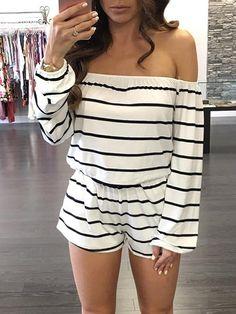 Fashion Striped Shirring Waist Off Shoulder Romper
