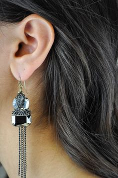 Crystal and Chain Earring