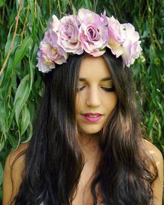 Large Rose Flower Crown- Pink/Purple Cream - with faux water drops,  halo, headband, wedding, flower girl, Festival, bridal,  wreath, ring on Etsy, $52.35 AUD