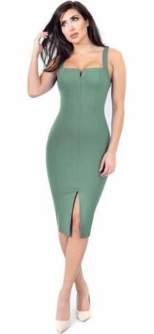 Carla Sage Front Slit Dress