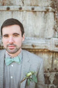 2014 Wedding Trends | Styled Grooms + Mint Weddings | we're loving this mint bow-tie + checked shirt + that bout