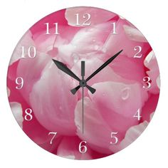 Pink romance blooming peony flower with dew drops wall clocks