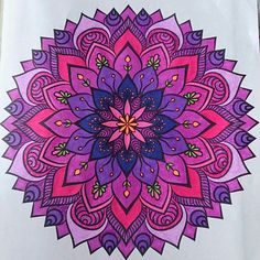 Mandala ,colored with gel pens and sharpie markers.by Judy Soto