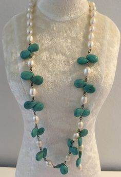 Pearl and Turquoise Necklace $140 Belle4ever.com