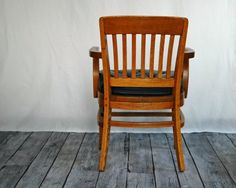 Vintage Oak Office Chair with Green Vinyl by territoryhardgoods