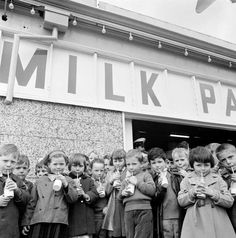 Melbourne children drinking milk. 1969. This could be a photo of me. I hated that milk!