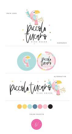 Logo Discover Your place to buy and sell all things handmade Cute Toucan Logo Tropical & Pastel Logo For Childrens Kids Branding, Branding Kit, Branding Design, Web Design, Grafik Design, Business For Kids, Logo Design Inspiration, Business Logo, Brand Board