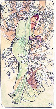 The Seasons: Winter--1896 Alphonse Mucha