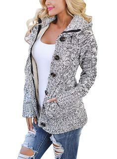 86b3d89f51 Sidefeel Women Hooded Knit Cardigans Button Cable Sweater Coat Large Grey  at Amazon Women s Clothing store