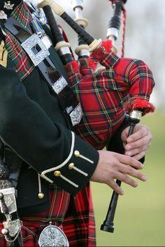 stock photo of kilt - Scottish Bag Piper wearing traditional dress of rich tartan - JPG