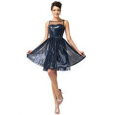Tmavomodré spoločenské šaty CL007599