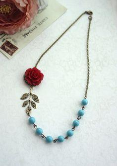 Red Rose Blue Aqua Blue Pearls Brass Leaf Sprig by Marolsha