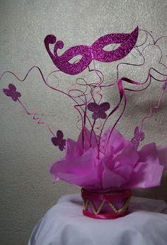 Masquerade Party Centerpieces, Masquerade Party Decorations, Mardi Gras Centerpieces, Quinceanera Centerpieces, Prom Decor, Masquerade Costumes, Floral Centerpieces, Birthday Decorations, Quinceanera Ideas