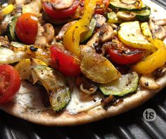 Grilled Veggie Pizza is easy to make with your over-abundance of vegetables from your garden.