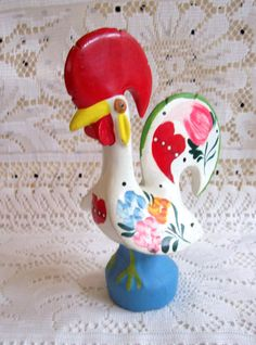 Vintage Portuguese Good Luck Chicken Rooster Figurine
