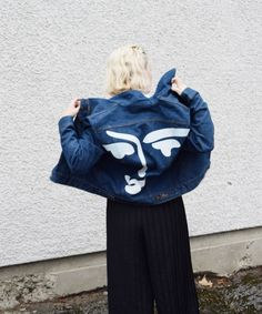 matisse denim jacket wrangler by lounorthwest on Etsy Painted Denim Jacket, Painted Jeans, Painted Clothes, Matisse, Denim Art, Diy Vetement, Denim Ideas, Cool Jackets, Diy Clothing