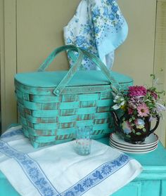 Blue Picnic basket.. home decor or picnic