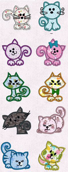 Applique Funny Kitties Embroidery Machine Design Details