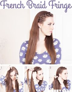 Braided bangs make you more chic and approachable. The braided bangs looks casual, plus, it is much more suitable for day wear. Braided bangs can be added to hair. Modern Hairstyles, Hairstyles With Bangs, Pretty Hairstyles, Easy Hairstyles, Girl Hairstyles, French Hairstyles, Boy Haircuts, Modern Haircuts, Celebrity Hairstyles