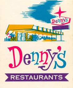 vintage colorful MidCentury Dennys advertisement. pink, purple, blue, yellow, green. 1950s diners, vintage ephemera matchbook illustrations