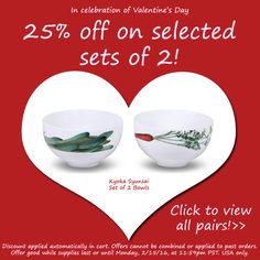 Happy Valentine's Day! We have 25% off on selected paired items to celebrate! (Details in image) http://noritakechina.com/valentines-day.html