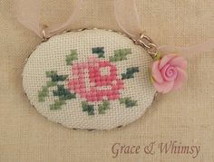 Items similar to Rose Collection - Embroidered pendant necklace on Etsy, Diy Abschnitt, Beaded Cross Stitch, Cross Stitch Rose, Diy Bead Embroidery, Hand Embroidery, Cross Stitch Designs, Cross Stitch Patterns, Cross Stitch Pictures, Gold Pendant Necklace, Gold Pendants