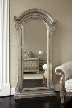 JESSICA MCCLINTOCK MIRRORED JEWELRY SAFE / A stately seven-foot floor mirror offers a concealed treasure trove of your coveted heirlooms behind European architecture. 44 x 14 x Jewelry Mirror, Jewelry Armoire, Jewelry Storage, Vintage Mirrors, Bedroom Photos, Beautiful Mirrors, Traditional Bedroom, Through The Looking Glass, Decoration