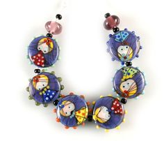 Lampwork bead set multicolor fairytale bead set by GlassAfternoon